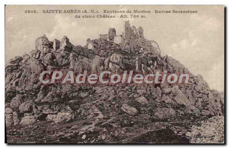 Postcard Old SAINTE AGNES surroundings Menton Saracen ruins of the old Chateau