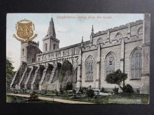 Fife: Dunfermline Abbey from the South / Embossed Gold Heraldic Arms c1905