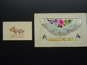 WW1 c1916 Embroidered Silk Postcard FORGET ME NOT Dog & Flowers with Insert