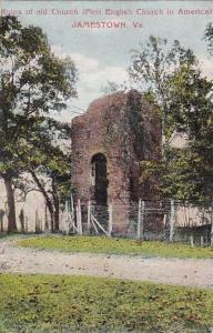 Virginia Jamestown Ruins Of Old Church First English Church In America
