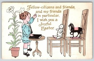 Easter~Boy Gives Speech To Toys~Steiff Bear & Horse~Hand on Bible~Whitney Made