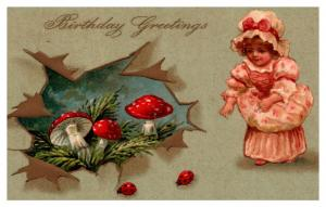 Birthday , Red Mushrooms , Lady Bugs,  Victorian Young Girl