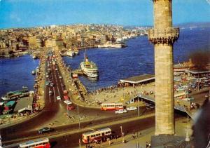 Turkey Istanbul Galata Bridge Brucke Busses Vintage Cars Auto