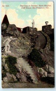 SAN FRANCISCO, CA SUTRO HEIGHTS Stairs to PARAPET   c1910s  R Behrendt  Postcard