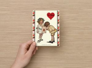 Set of 6, Valentine's Day Postcards, Little Girl Giving Valentine Be Mine Love