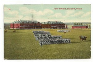 Postcard Fort Wright Spokane Wash. Marching Practice Standard View Card