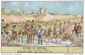 LIebig Trade Card S1680 History Of Portugal No 5 Les lignes de Torres Vedras
