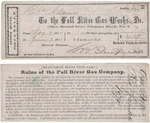 1870 Receipt, The Fall River Gas Works, Dr., Fall River,  Massachusetts