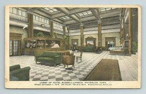 Hotel Russell Lamson Lobby Horton Holden Co Waterloo Iowa Postcard