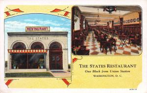 The States Restaurant, Washington, D.C., Early Postcard, Unused