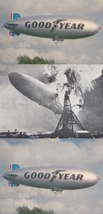 Goodyear Airship LZ129 Hindenburg 3x Postcard s