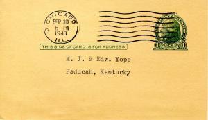 U S Postal Card - UX27 Jefferson, 1 cent, green. Receipt, Continental Ins