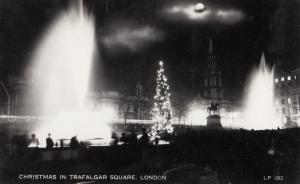 Christmas Lights In Trafalgar Square London Vintage Real Photo Postcard