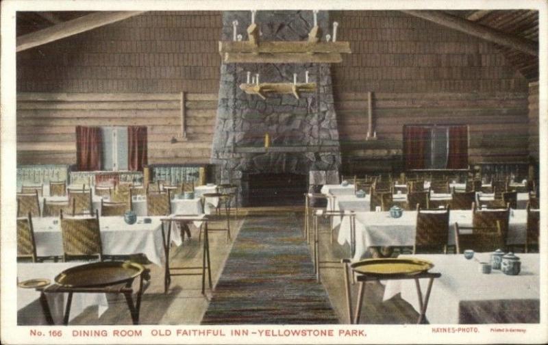 Yellowstone National Park Old Faithful Inn Dining Room Haynes #166 Postcard