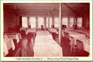 OAKLAND, Maine Postcard HAL'S RESTAURANT Interior View Roadside c1950s Unused