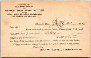 1895 Chicago Postcard YMCA Training School & Western Secretarial Institute
