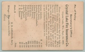 Crystal Lake Wisconsin~Fire Insurance~3 Mills on the Dollar~Sep 15th 1900