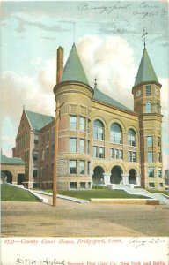 Bridgeport, CT County Court House 1906 Postcard to Mrs T Hartford, Providence RI