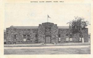 Hugo Oklahoma~National Guard Armory~1940s B&W Bluesky Linen Postcard
