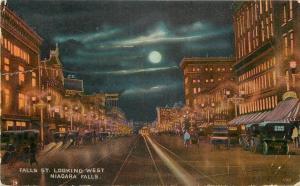 Niagara Falls New York~Falls Street West~Night Lights~Full Moon~Beer~1910 PC