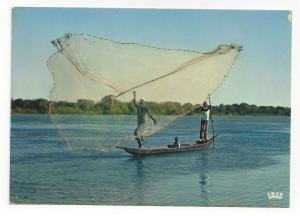 Africa Fishing Scene Fishermen with Net IRIS Africa in Color Vtg Postcard 4X6