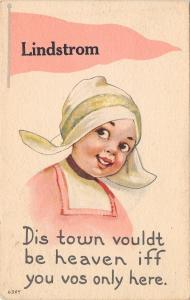 Lindstrom MN~Vouldt Be Heaven If You Vas Here~Dutch Girl~Pink Pennant~1914