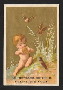 VICTORIAN TRADE CARD Boutillier Family Clothes Baby & Birds