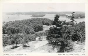Muskoka Ontario~Dotted Muskoka Lake~Island~1950s Real Photo Postcard~RPPC