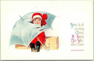 1910s NEW YEAR Postcard Here's To All My Loving Chums… Girl / Umbrella - Unuse