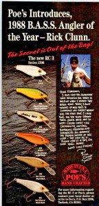 1988 Poe's  Fishing Lure print Ad Old Fishing Lures Rick Chum