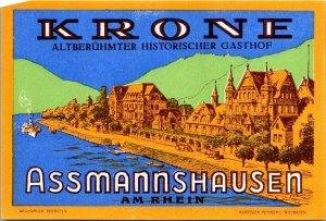 Germany Assmannshausen Hotel Krone Vintage Luggage Label sk4848