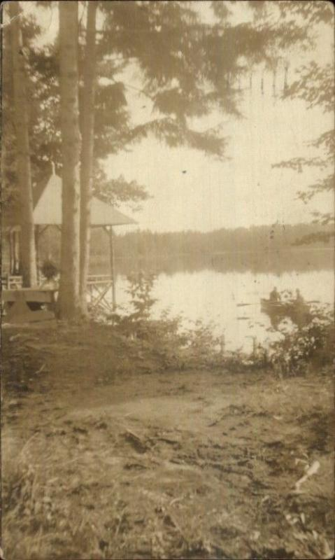 Little Falls NY 1915 Cancel - Lake Scene Real Photo Postcard