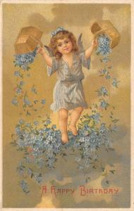 Fantasy Birthday~Lil Angel in Stripes Pours Basket of Forget-Me-Nots~Rotograph