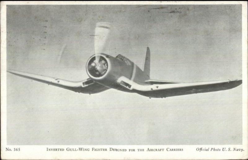 WWII Aircraft Fighter Plane Inverted Gull Wing Postcard Soldiers Mail