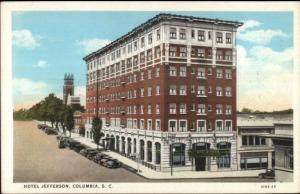 Columbia SC Hotel Jefferson c1920 Postcard rpx