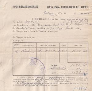 Banco Hispano Americano Spanish Palamos Bank 1955 Travellers Cheques Receipt