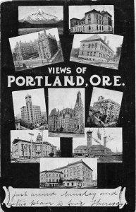 H81/ Portland Oregon Postcard c1907 10 View Buildings Mountain 126