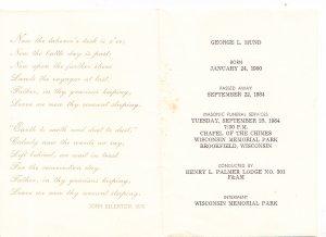 Masonic Funeral Notice  1984