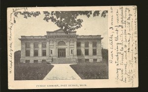 USA Postmark 1907 Port Huron Mich Public Library Port Huron Michigan Postcard