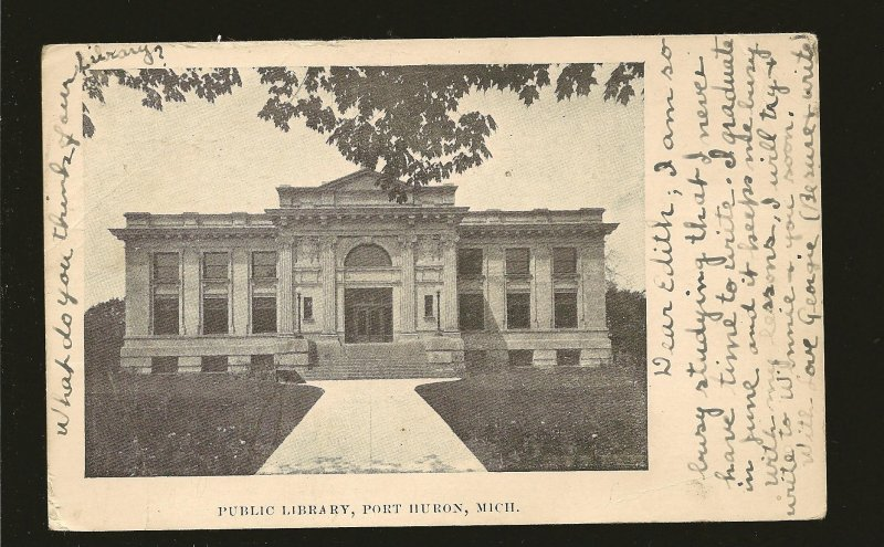 USA Postmark 1907 Port Huron Mich Public Library Port Huron Michigan Postcard