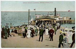 Rocky Point RI Steam Boat Landing Busy Scene Postcard