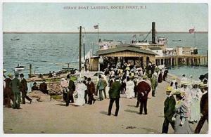 Rocky Point RI Steam Boat Landing Busy Scene Postcard