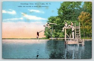 Silver Lake New York~Swimmers Dive Most Delightful Water~Platform~1940 Linen
