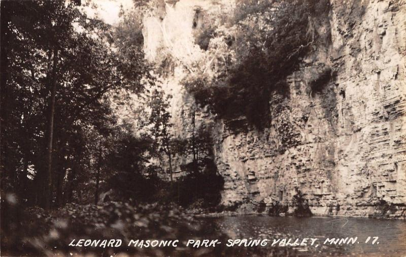 Spring Valley Minnesota~Leonard Masonic Park~Bluffs & Cliffs~1930s RPPC