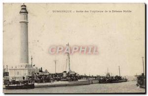 Old Postcard Dunkirk Output Destroyers of Defense Mobile Boat Lighthouse