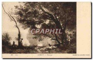 Old Postcard Corot Landscape Musee du Louvre Paris