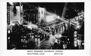 Hollywood CA Movie Premiere, grauman's Chinese RPPC Postcard