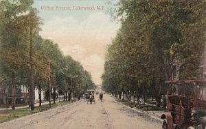 New Jersey Lakewood Old Car Horse & Buggies On Clifton Avenue 1912 sk290