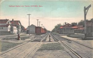 Oxford MA 1908 Railroad Station Train Depot Postcard