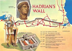 uk5279 hadrians wall uk map carte geographique